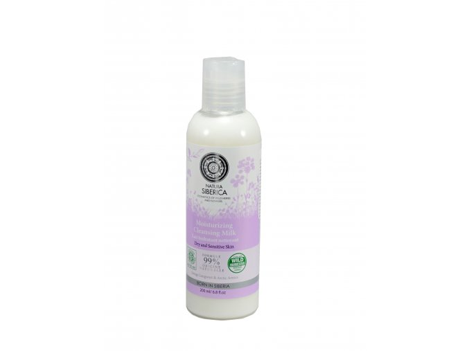 Natura Siberica – Hydratačné čistiace mlieko na tvár pre suchú a citlivú pleť - 200 ml